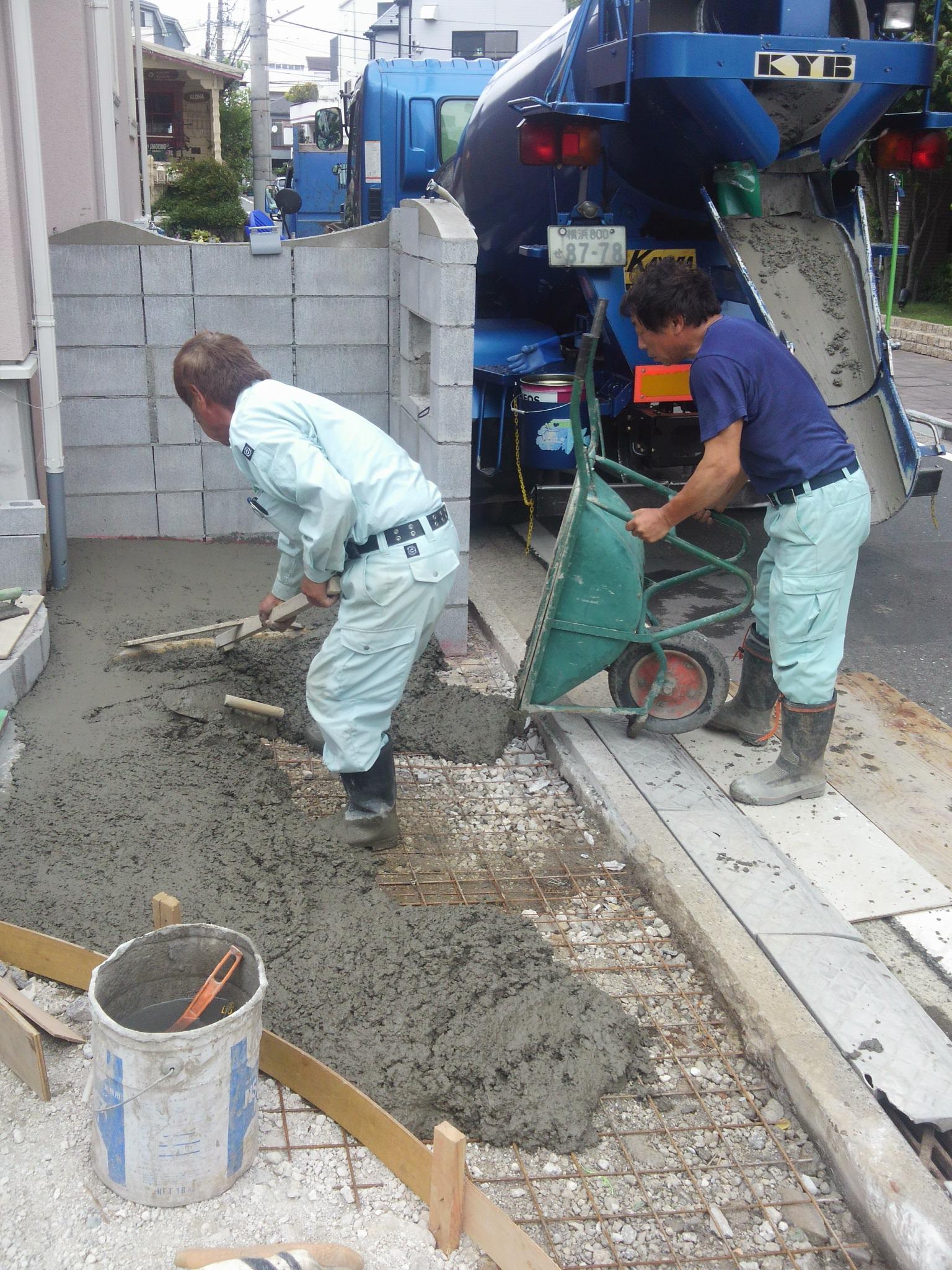 コンクリート打設 横浜市 M様邸 エクステリア工事