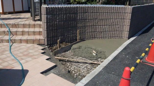 タイル下地の土間コンクリート打設