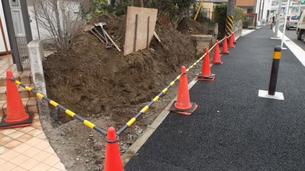 横浜市H様邸の擁壁工事