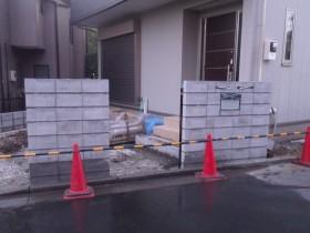 門壁下地ブロック積み完了