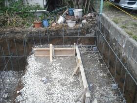 裏庭部分のブロック基礎