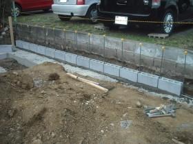 裏庭部ブロック積み
