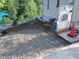 コンクリート撤去完了砕石敷き