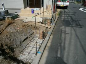 門壁ブロック基礎鉄筋組